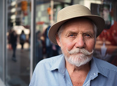 Jeff (jeffcbowen) Tags: jeff street stranger toronto english thehumanfamily mustache mature portrait