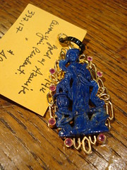 "CHINESE AZURITE QUON YIN PENDANT IN 14K GOLD. • <a style=""font-size:0.8em;"" href=""http://www.flickr.com/photos/51721355@N02/30171908462/"" target=""_blank"">View on Flickr</a>"