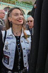 Someone to look up to (Finding Chris) Tags: brightonandhove madeiradrive brightona bikers leathergear denim smile sussexheartfoundation redlipstick jewellery