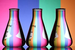 The Science of Colour (Karen_Chappell) Tags: science colour colourful pastel refraction glass three liquid stripes pink blue green orange stilllife 3