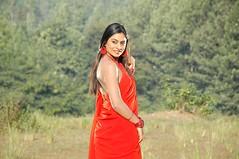 South Actress Deepika Das Hot in Red Sari Photos Set-5 (19)
