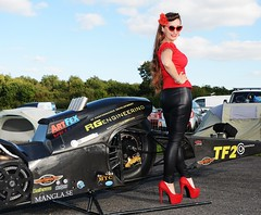 Holly_9824 (Fast an' Bulbous) Tags: top fuel bike motorcycle nitro fast speed power santa pod pits race track strip drag santapod girl woman biker chick babe long brunette hair red shoes stilettos high heels leather pvc jeans leggings beauty model pinup outdoor people