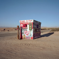the last free place. slab city, ca. 2016. (eyetwist) Tags: eyetwistkevinballuff eyetwist slabcity thelastfreeplace desert california entrance bunker graffiti saltonsea niland mamiya 6mf 50mm kodak portra 160 ishootfilm ishootkodak analog 6x6 mamiya6mf mamiya50mmf4l kodakportra160 analogue film emulsion mamiya6 square mediumformat 120 primes filmexif iconla epsonv750pro lenstagger roadsideamerica americana landmark famous sonorandesert sonoran arid dry type typography typographic lettering painted decorated art weathered barren desolate bleak american west salton sea imperialcounty eastjesus campdunlap ww2 usmc abandoned base offthegrid slabs bealroad wasteland snowbirds intothewild love