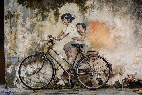 'Kids on Bicycle' - Street Art, George Town, Penang Malaysia