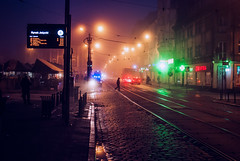 Action! (ewitsoe) Tags: autumn fog foggy man crossing street city jezyce ewitsoe poznan nikon d80 35mm life lights neon