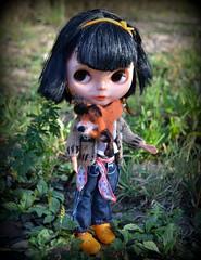 The fox for Blythe (pe.kalina) Tags: doll dollhouse blythe barbie licca momoko miniature handmade felt felted fox scarf