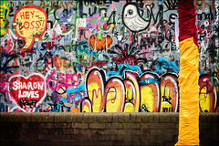 Hey Boss! (h_cowell) Tags: aftermathdislocationprinciple adp jimmycauty macclesfield cheshire uk adpriottour adpriot graffiti art artist colour bright colourful abstract street streetphotography wall contrast appicoftheweek container modelvillage