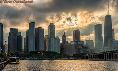 Sun setting on Chicago Skyline, Tall ships festival, Chicago, July 2016 (vdwarkadas) Tags: tallships chicagotallshipsfestival2016 sunset hdr hdrsunset highdynamicrange chicagoskyline skyline sony sonynex5t