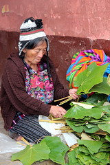 Preparing The Leaves (Alan1954) Tags: market guatemala holiday 2011 leaves chichicastenango woman portrait