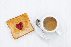 toast in heart shape with fruit jam and cup of coffee (cook_inspire) Tags: valentin day breakfast toast bread love coffee food holiday heart jam symbol espresso present sweet dessert fruit cuisine cooking date delicious concept happiness marriage cup festive celebration s 14 card couples iloveyou sugar wedding romantic background romance february white wooden