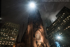 Rainy New York (20161129-DSC05684) (Michael.Lee.Pics.NYC) Tags: newyork trinitychurch lowermanhattan night broadway wallstreet rain streetlights sony a7rm2 zeissloxia21mmf28