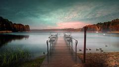Pier. (augustynbatko) Tags: pier lake water sky clouds view landscape outdoor tree birds