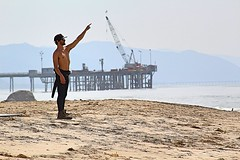 Carpinteria Beach (Robert Borden) Tags: northamerica west coast california socal venturacounty carpinteria beach water ocean crane man canon
