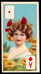 Cigarette Card - Ace of Diamonds (cigcardpix) Tags: cigarettecards advertising ephemera vintage beauty playingcard