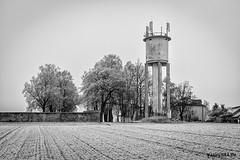 Old Water Tower (Jan Liška) Tags: blackandwhite watertower tower snow trees wall field house tripod czechrepublic southbohemia veselínadlužnicí janliskaeu