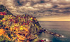 Manarola (PokemonaDeChroma) Tags: manarola cinqueterre liguria italy landscape sea village sky vintage oldfashioned canon 6d ef24105mmf3556isstm leebigstopper hill cliff long exposure october 2016 dramatic overcast rocks bluehour