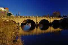 Welsh bridge (Sundornvic) Tags: river severn shrewsbury shropshire water bridge architecture reflections blue sky trees arches paths town