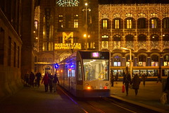 Line 14 (oliko2) Tags: line14 amsterdam city xmas tram lights christmas shoppingmall magnaplaza publictransport netherlands evening night d7100 35mm people