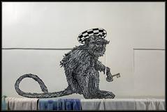 MonkeyBird Crew (Gramgroum) Tags: street art museum graffiti collage sticker monkey bird escalier 42
