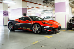 A growing trend. (Sathya Melvani) Tags: red black rock italian singapore italia corse group ferrari racing dope sick rosso coupe decals supercars clienti pirelli 458