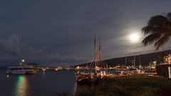 Hokule`a and a Super Moon (hawaiiansupaman) Tags: ocean sea sky moon night clouds boats hawaii harbor sailing maui canoe sail mast maalaea hokulea maalaeaharbor sailingcanoe supermoon malamahawaiitour malamahawaii