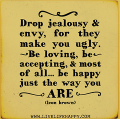 Drop jealousy and envy, for they make you ugly...