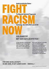 13-08-10-VegesackDemo (Plakatarchiv von politischesplakat.blogsport.de) Tags: orange fight 10 grau august demonstration now racism a2 plakat vegesack antifa solidaritt 2013 antirassistisch politisches geflchtete