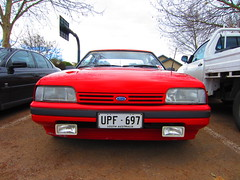 1983/85 Ford XF Falcon S (RS 1990) Tags: old red ford sport interior side rear wheels shoppingcentre august s front retro special pack falcon adelaide manual 1980s thursday southaustralia 8th transmission gearbox alloy xe 2013 cumberlandpark 198385 fuelflap