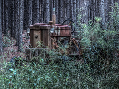 Deere in the pines (pmcdonald851) Tags: old trees tractor abandoned canon pines ag agriculture hdr deere johndeere lightroom brokendown photomatix sx40 chdk canonsx40