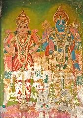 Lord Mahavishnu and Goddess Laksmi Paintings..... (Excel exposures) Tags: temple nikon d2x then pondicherry kalai perumal srinivasa thenkalai