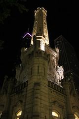 Old and New (JB by the Sea) Tags: urban chicago night illinois gothic watertower michiganavenue johnhancockcenter magnificentmile rivernorth chicagowatertower northmichiganavenue johnhancockobservatory october2013