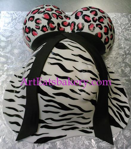 Zebra and cheetah print black pink and white baby bump baby shower