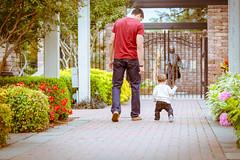 (Barry.Lenard) Tags: park boy flower brick statue walking toddler path father away son statuary latinamerican