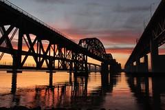 Benicia Bridges (SolanoSnapper) Tags: northerncalifornia sunrise dawn benicia beniciabridge solanocounty carquinezstrait beniciawaterfront beniciarailroadbridge