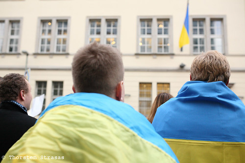 Spontanous rally in front of the Ukrainian embassy in Berlin