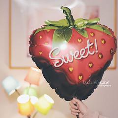 Sweet Chocolate Strawberry Balloon  (Miss.Dua'a) Tags: cute balloons lights yummy strawberry sweet chocolate happiness kawaii                     moon17s