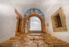 17th Century Tile (rschnaible) Tags: old history portugal stone tile de ancient fort steps historic explore worn handcrafted aged setubal filipe circa sao pousada hdr 1500s explored vision:outdoor=0882