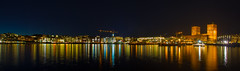 Aker Brygge, Oslo Panorama (cpphotofinish) Tags: ocean city winter light colour water weather oslo norway night canon landscape outside eos norge photo vinter foto image outdoor akerbrygge norwegian fjord nordic akershus oslofjord kaia oslofjorden rdhuset bilde norske farger vippetangen canonef akershusstranda eos50d fortres mklll pwwinter vision:sky=0978 vision:outdoor=0952 vision:clouds=0539 vision:dark=0964