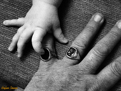 21/365 - GREAT-GRANDAD'S RING (BABAYAGA321) Tags: bw baby hands fingers cavalier grainy grandad goldring