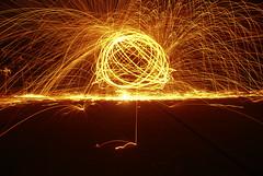 Sparkled Orb (Callan Usher) Tags: light orange yellow night ball dark photography spread exposure tripod sparkle round hd bounce steelwool