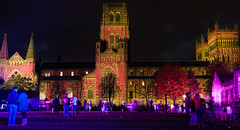 Durham Lumiere (Ben Lockwood) Tags: people reflection festival lights neon durham purple audience north panoramic cathederal lumiere future