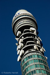 The BT (British Telecom) Tower against a deep blue sky, London, England (Roberto Herrett) Tags: city uk travel blue england sky urban sun london english tourism up sunshine k vertical architecture modern buildings outside saturated europe icons close unitedkingdom britain famous capital towers sightseeing postoffice cities landmarks sunny pd tourist architectural telephoto u british iconic sights communications attractions gpo stockphoto exteriors telecommunications rherrettflk