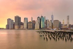 Manhattan's Diamonds (Nasbe Photography) Tags: nyc newyorkcity sunset cloud newyork colors river us downtown cloudy manhattan eastriver colorfulsunset