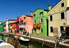 Colorful (tmvissers) Tags: venice houses italy laundry brightcolors clothesline venezia burano