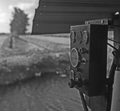Water Pump -- (Ikoflex Ic) (PositiveAboutNegatives) Tags: blackandwhite bw tlr film field analog zeiss canal ikoflex farmland machinery zeissikon waterpump coolscan gauges foma carlzeiss fomapan100 aristaedu tessar nikon9000scanner blackandwhitefilmphotography ikoflex1c ikoflexic freefilmimages freefilmpictures
