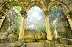 Ancient gothic arches in the myst. Fantasy landscape in Evora, Portugal. (davidherraezcalzada) Tags: gothic wall dramatic stone landscape halloween arch architecture old medieval building europe column ancient historic corridor passage vertical archway antique dark myst outdoors fog nature foggy light beautiful scenic tourism mist mystic evora portugal history portuguese town unesco historical archeology antiquity fantasy mystery magic dream imagination fairytale sun