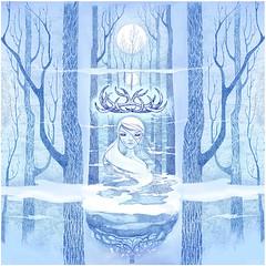 ~forest spirit~ (7115) Tags: liisroden graphics grfx art girl blue forest woods fog mist fantasy mystery spirit virgin moon