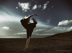 Set Piece (modulationmike) Tags: dance sky atmosphere black dress beauty coastal beach sand sea figure clouds tonal lightiing