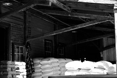 Arva Flour Mill (Jade Chanoquaway) Tags: nikon nikkor d5500 fall autumn september ontario canada blackandwhite black white grey gray grayscale greyscale bw contrast light shadow monochrome shadows outdoor outside outdoors industrial building buildings shed sheds window windows glass door doors rafter rafters roof beams wood sacks sack bag bags hat jacket clothes shirt sun sunlight sunshine brick bricks old cans2s