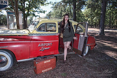 Homebound (Linda O'Donnell) Tags: rosietheriveter models 1940s redbandana glamour redlipstick worldwarii wwii vintagevehicles taxi pinup lindanjo6 lindaodonnell